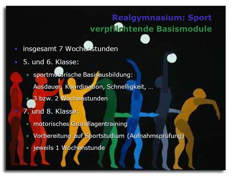 Realgymnasium: Sport verpflichtende Basismodule