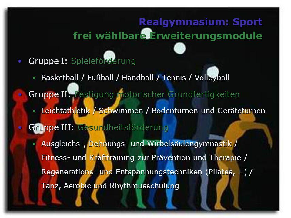 Realgymnasium: Sport frei wählbare Erweiterungsmodule