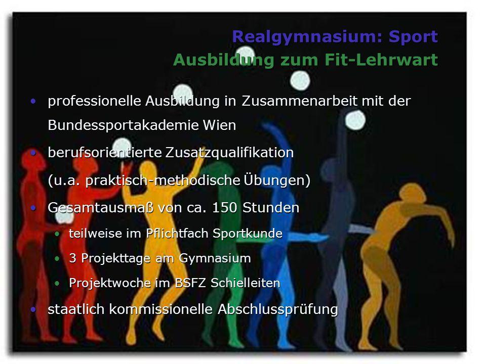 Realgymnasium: Sport Ausbildung zum Fit-Lehrwart