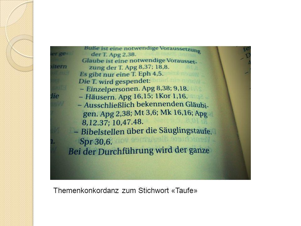 Themenkonkordanz zum Stichwort «Taufe»