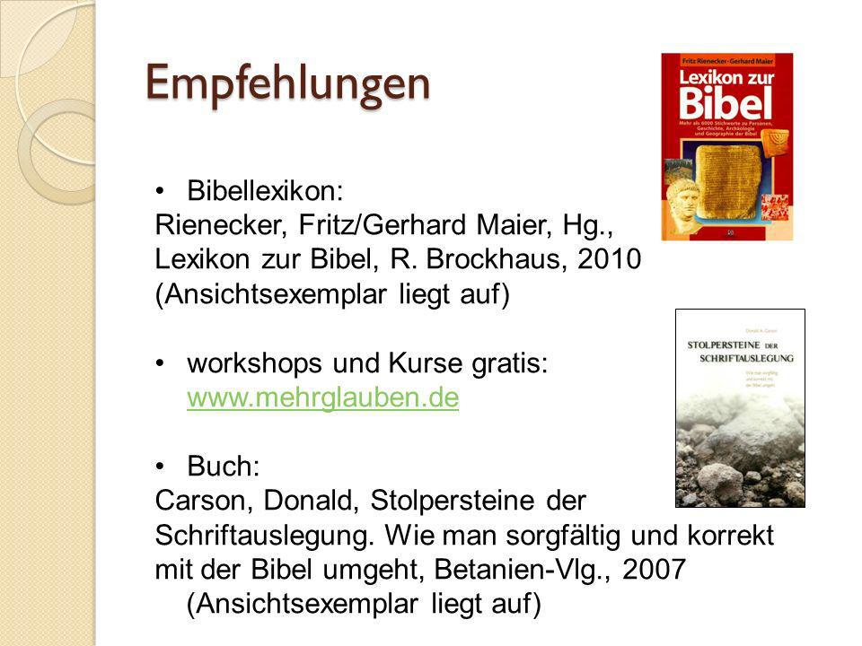 Empfehlungen Bibellexikon:
