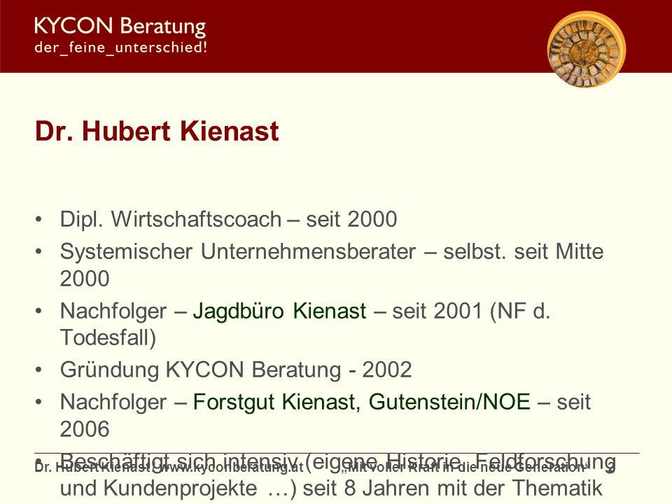 Dr. Hubert Kienast Dipl. Wirtschaftscoach – seit 2000