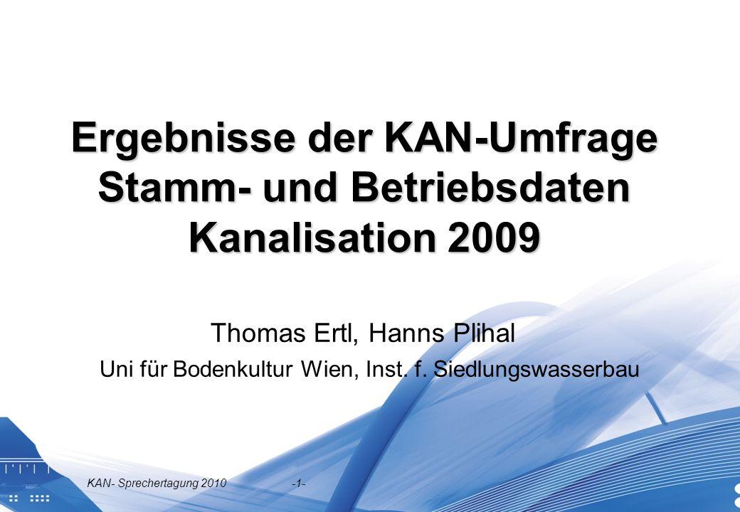 Ergebnisse der KAN-Umfrage Stamm- und Betriebsdaten Kanalisation 2009