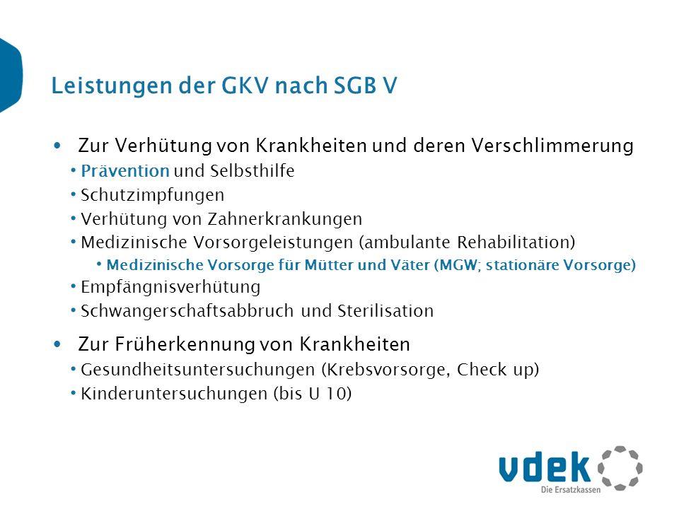 Leistungen der GKV nach SGB V