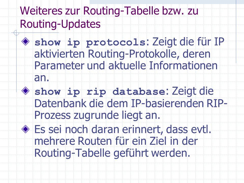 Weiteres zur Routing-Tabelle bzw. zu Routing-Updates