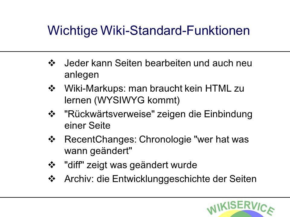 Wichtige Wiki-Standard-Funktionen