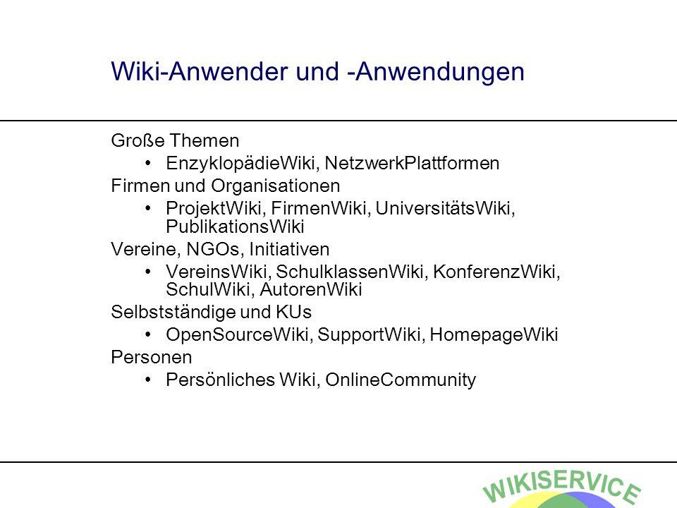 Wiki-Anwender und -Anwendungen