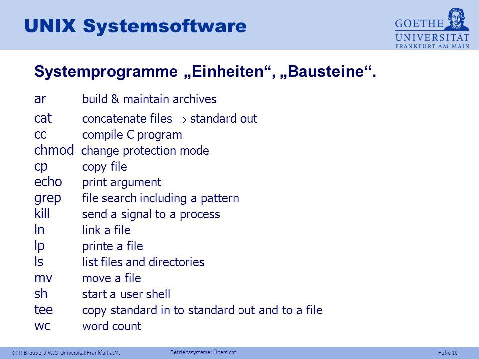 """UNIX Systemsoftware Systemprogramme """"Einheiten , """"Bausteine ."""