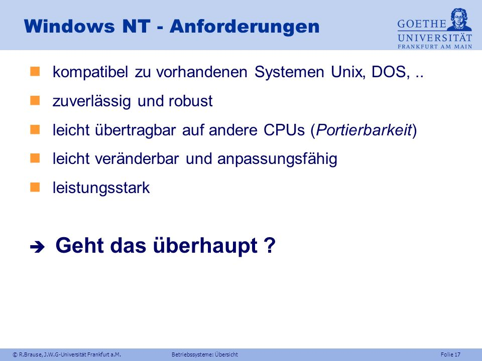 Windows NT - Anforderungen