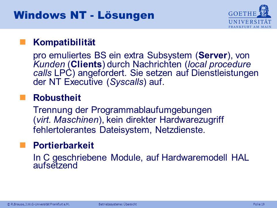 Windows NT - Lösungen Kompatibilität