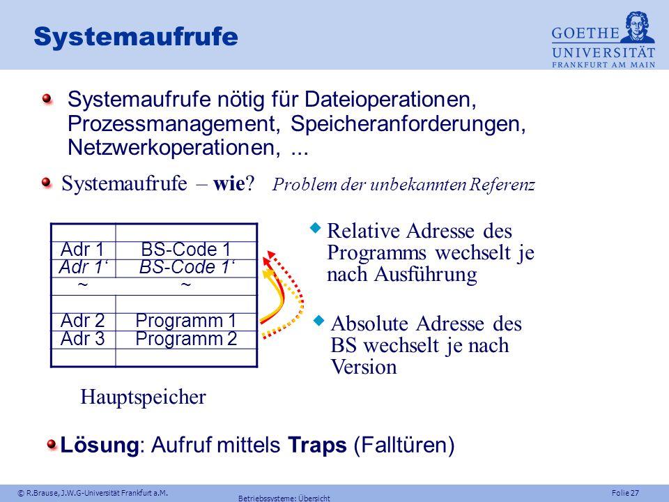 Systemaufrufe Systemaufrufe nötig für Dateioperationen, Prozessmanagement, Speicheranforderungen, Netzwerkoperationen, ...