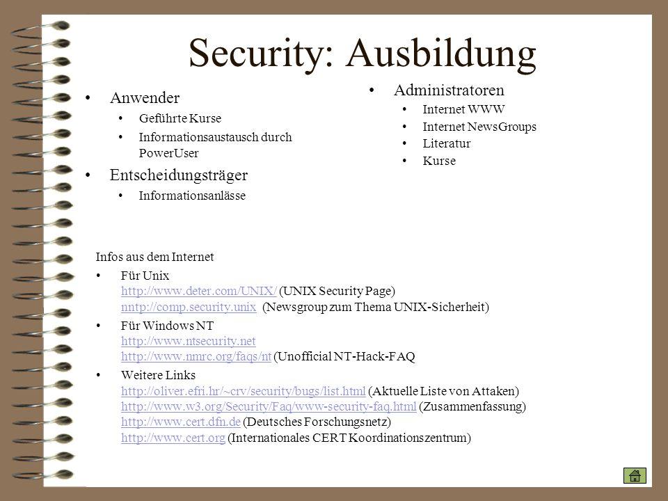 Security: Ausbildung Administratoren Anwender Entscheidungsträger