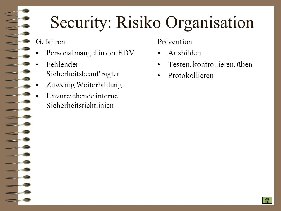 Security: Risiko Organisation