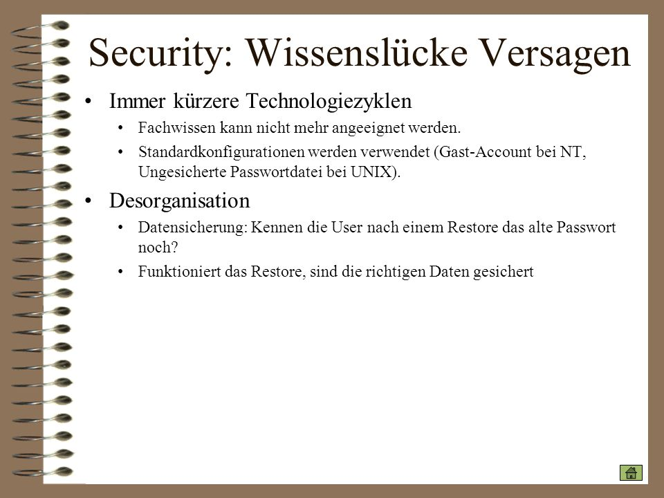 Security: Wissenslücke Versagen