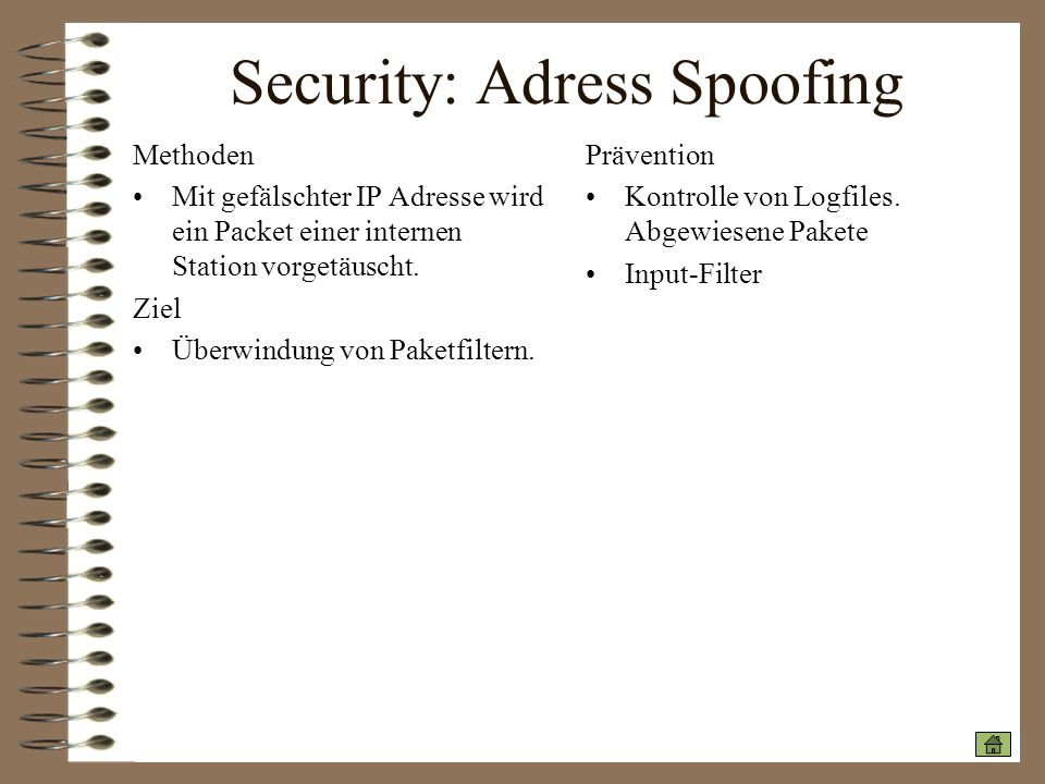 Security: Adress Spoofing