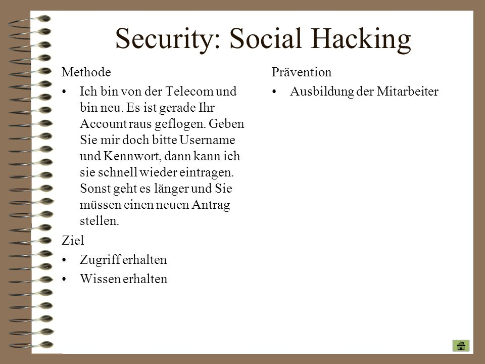 Security: Social Hacking