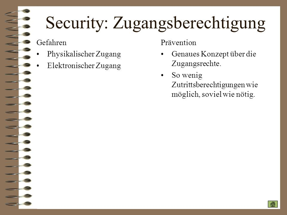 Security: Zugangsberechtigung