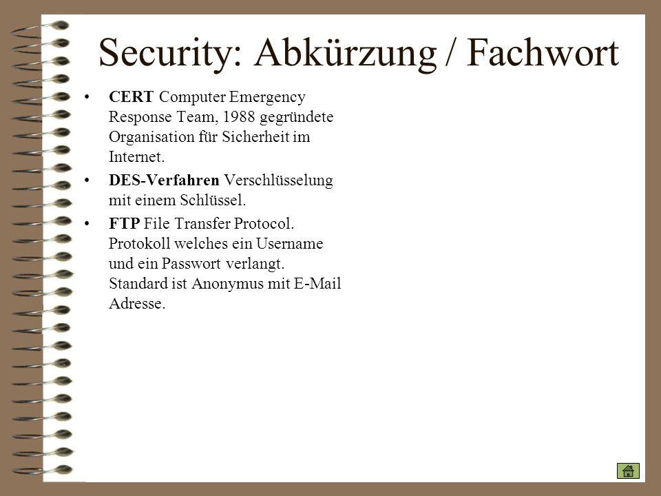 Security: Abkürzung / Fachwort
