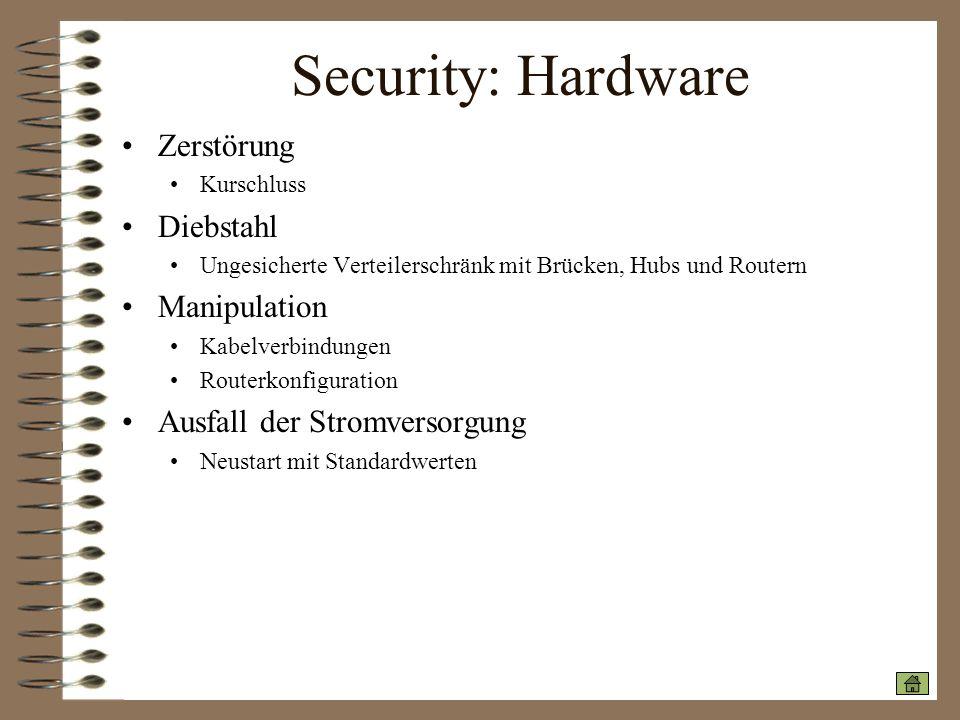 Security: Hardware Zerstörung Diebstahl Manipulation
