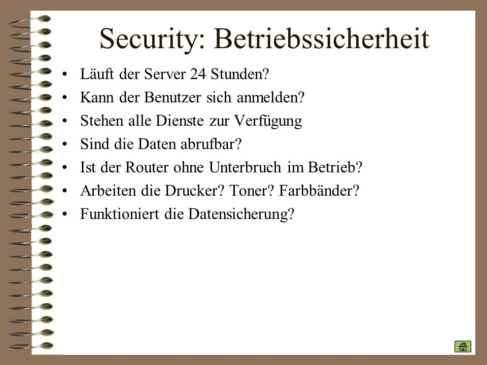 Security: Betriebssicherheit