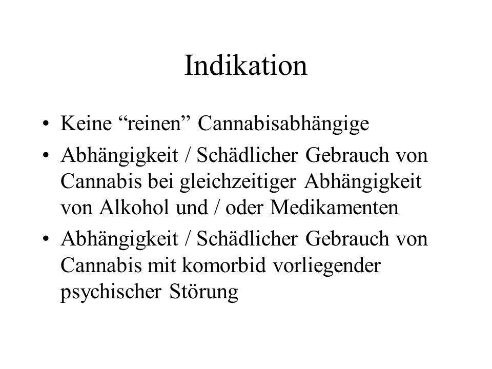 Indikation Keine reinen Cannabisabhängige