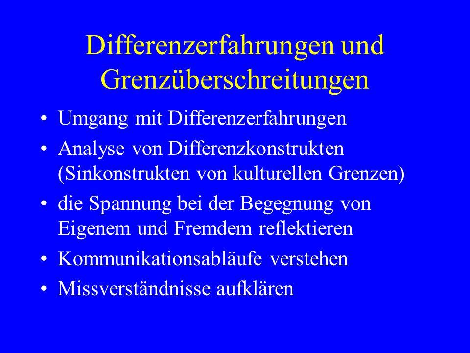 Differenzerfahrungen und Grenzüberschreitungen