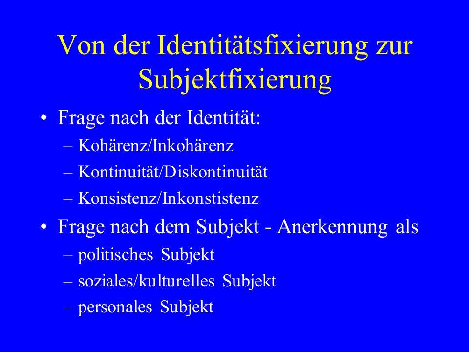 Von der Identitätsfixierung zur Subjektfixierung
