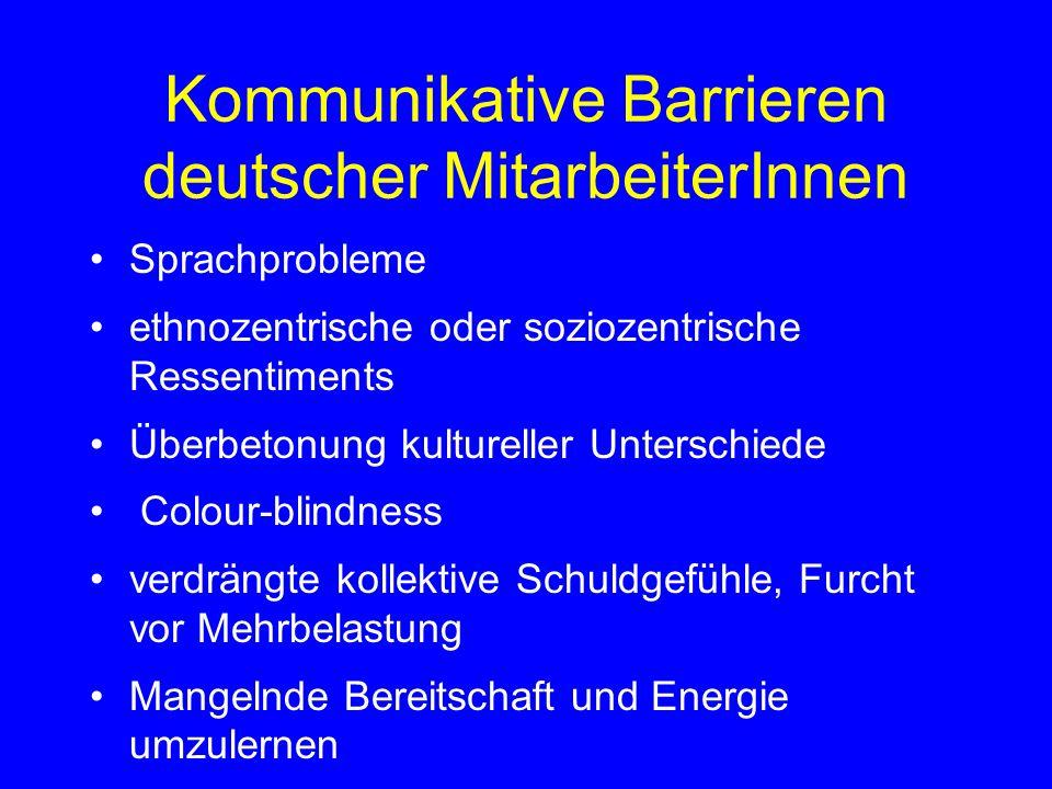 Kommunikative Barrieren deutscher MitarbeiterInnen
