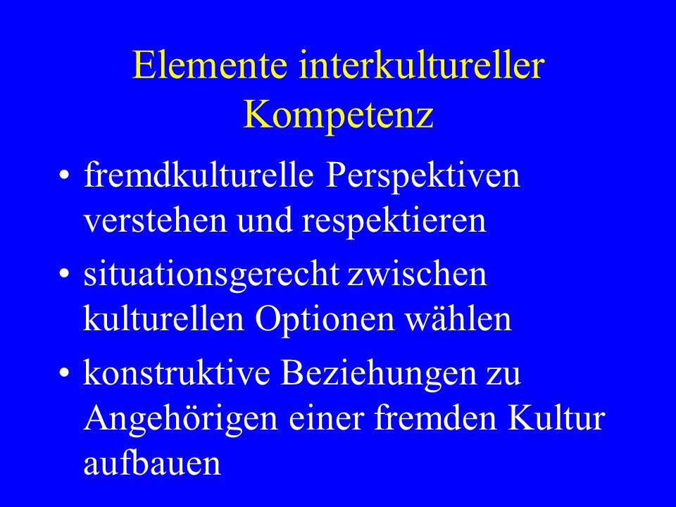 Elemente interkultureller Kompetenz