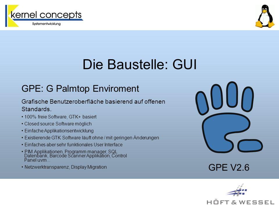 Die Baustelle: GUI GPE: G Palmtop Enviroment GPE V2.6