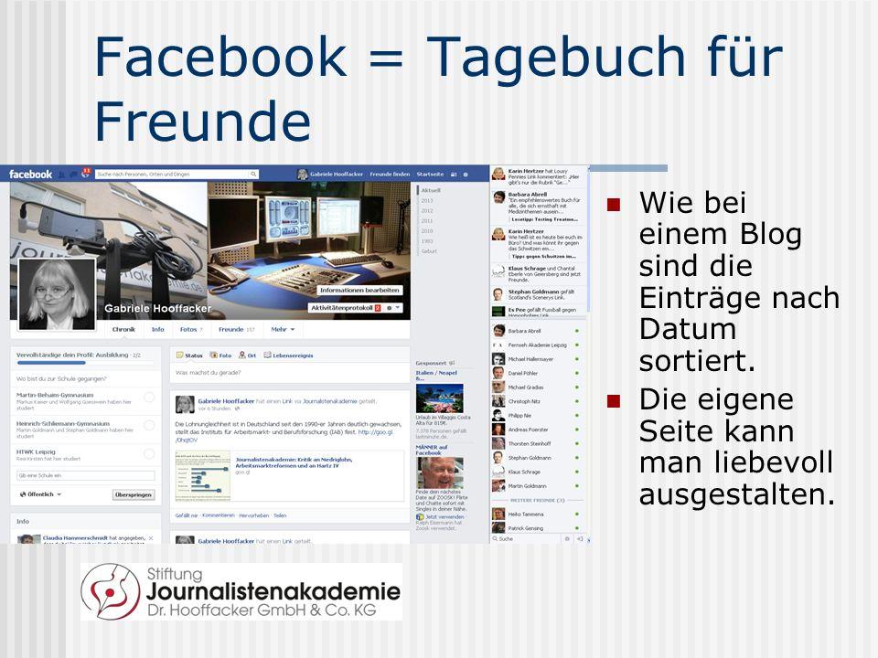 Facebook = Tagebuch für Freunde