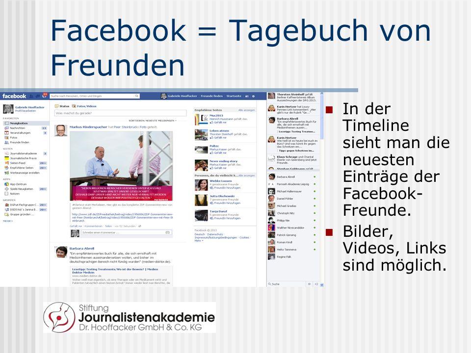 Facebook = Tagebuch von Freunden