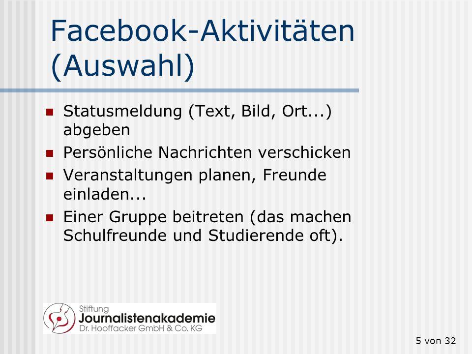 Facebook-Aktivitäten (Auswahl)