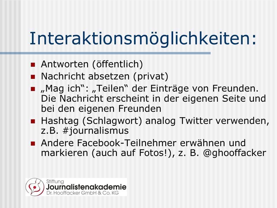 Interaktionsmöglichkeiten: