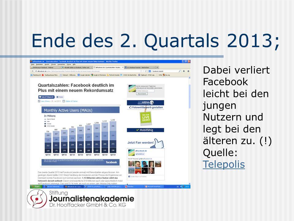Ende des 2. Quartals 2013; Dabei verliert Facebook leicht bei den jungen Nutzern und legt bei den älteren zu. (!)