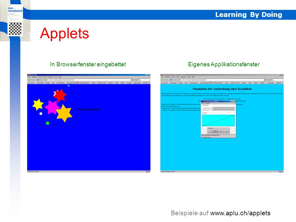 Applets Learning By Doing Beispiele auf www.aplu.ch/applets
