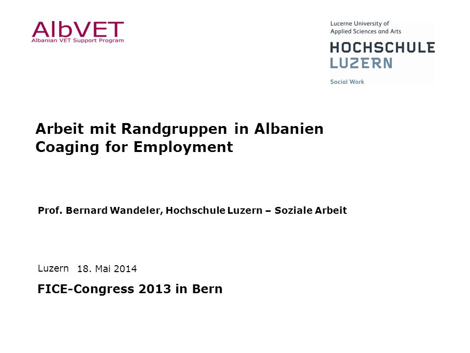 Arbeit mit Randgruppen in Albanien Coaging for Employment