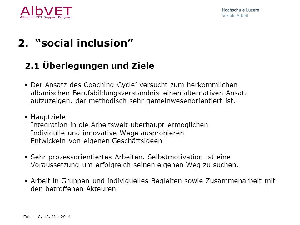 2. social inclusion 2.1 Überlegungen und Ziele
