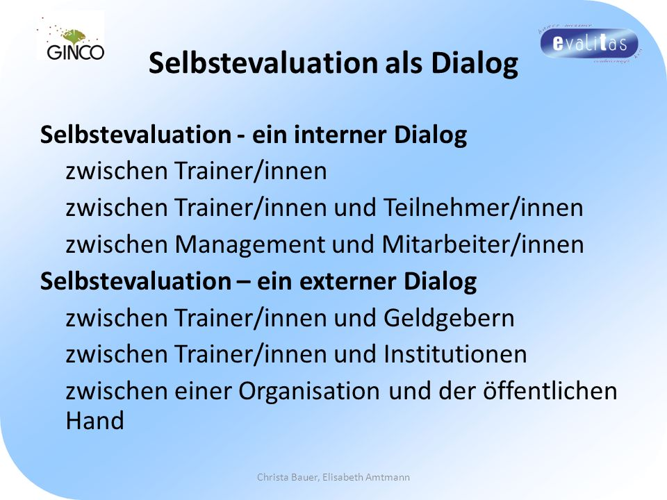 Selbstevaluation als Dialog