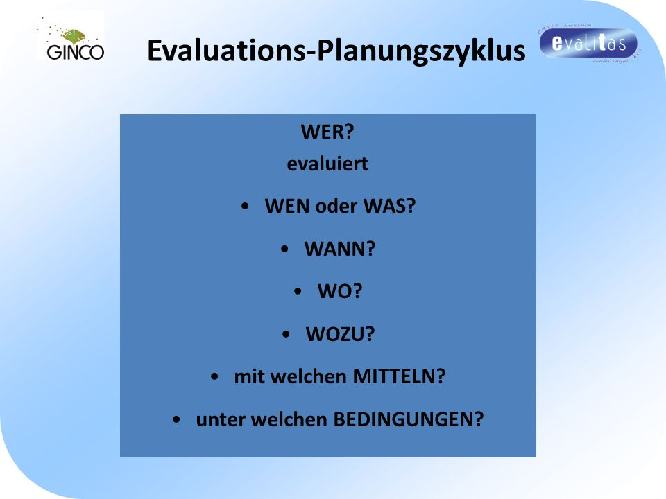 Evaluations-Planungszyklus unter welchen BEDINGUNGEN