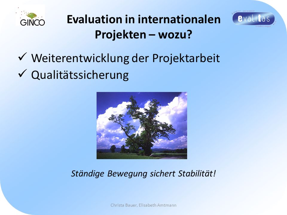 Evaluation in internationalen Projekten – wozu
