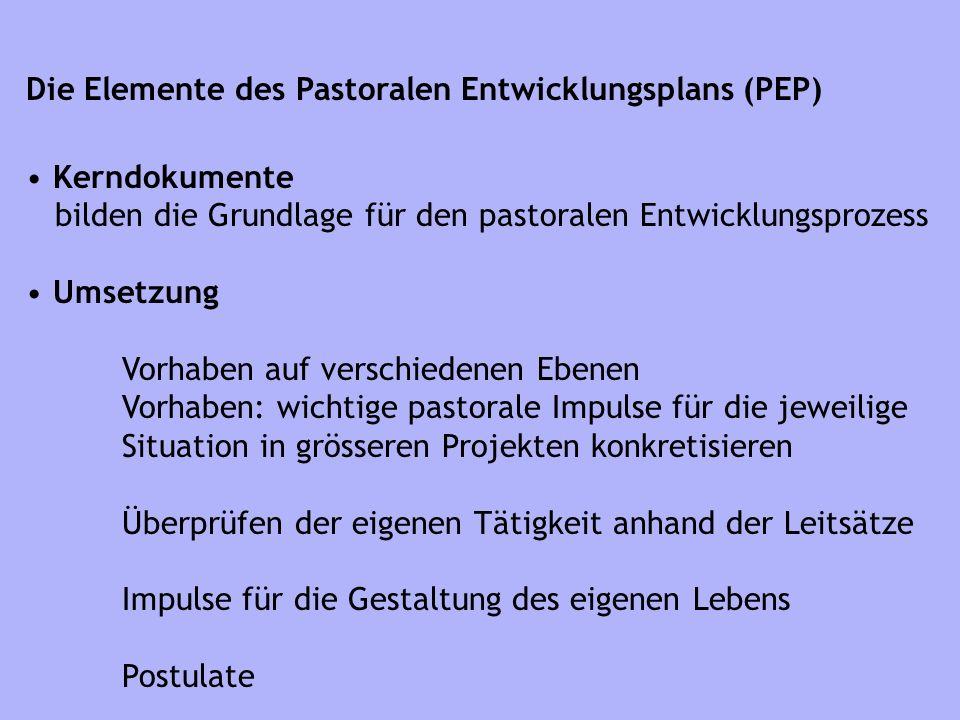 Die Elemente des Pastoralen Entwicklungsplans (PEP)