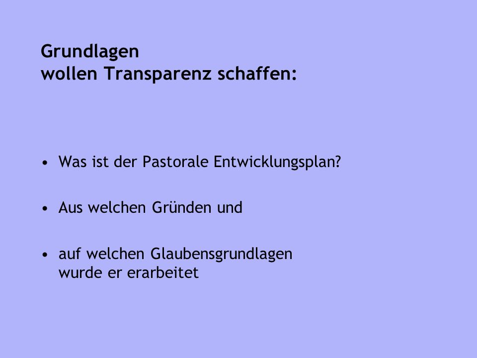 Grundlagen wollen Transparenz schaffen: