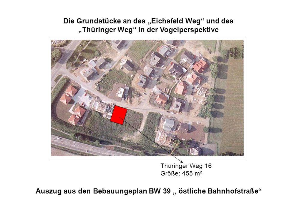 """Auszug aus den Bebauungsplan BW 39 """" östliche Bahnhofstraße"""