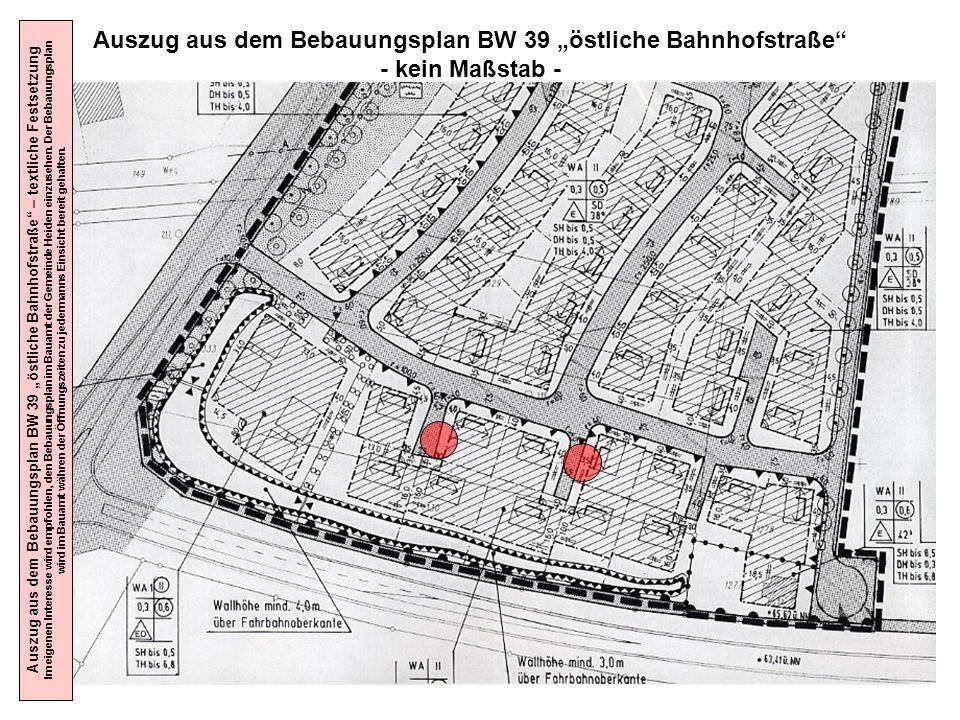 """Auszug aus dem Bebauungsplan BW 39 """"östliche Bahnhofstraße"""