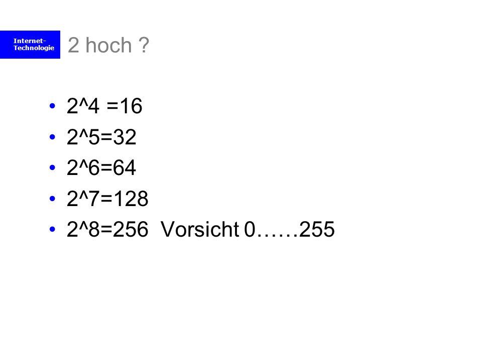 2 hoch 2^4 =16 2^5=32 2^6=64 2^7=128 2^8=256 Vorsicht 0……255