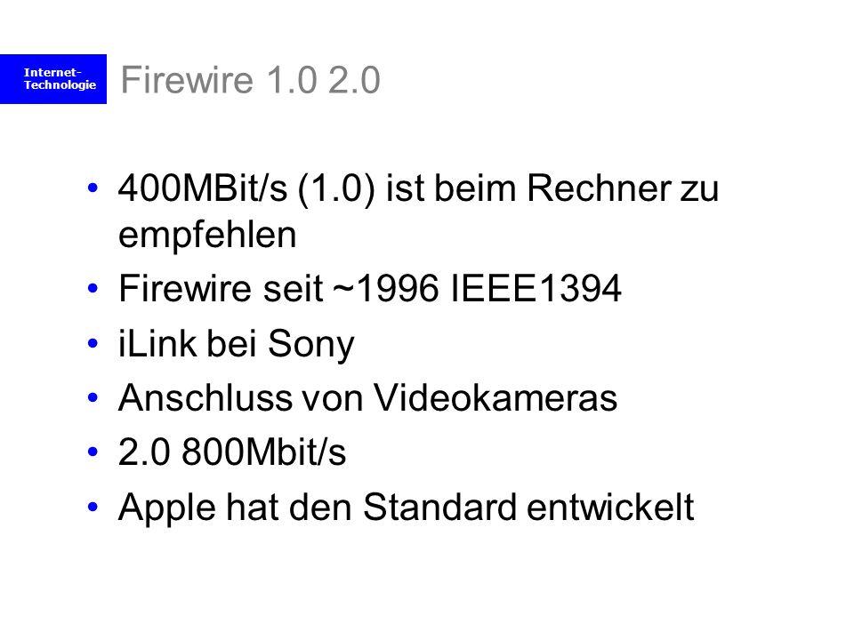 Firewire 1.0 2.0 400MBit/s (1.0) ist beim Rechner zu empfehlen. Firewire seit ~1996 IEEE1394. iLink bei Sony.