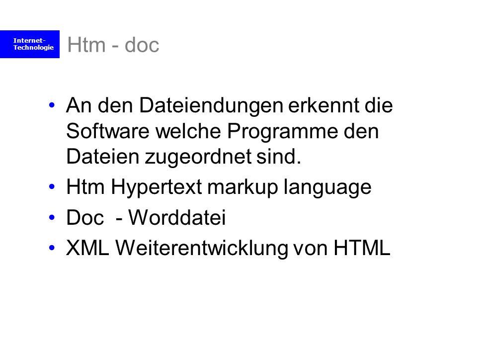 Htm - doc An den Dateiendungen erkennt die Software welche Programme den Dateien zugeordnet sind. Htm Hypertext markup language.