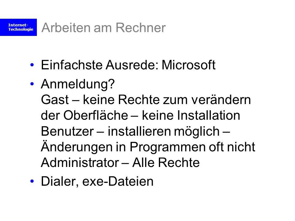 Arbeiten am Rechner Einfachste Ausrede: Microsoft.