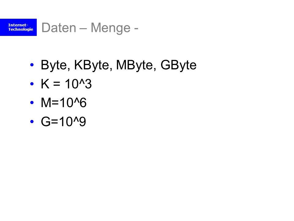 Daten – Menge - Byte, KByte, MByte, GByte K = 10^3 M=10^6 G=10^9